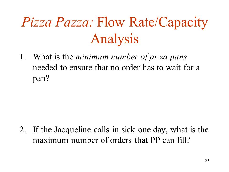 Pizza Pazza: Flow Rate/Capacity Analysis