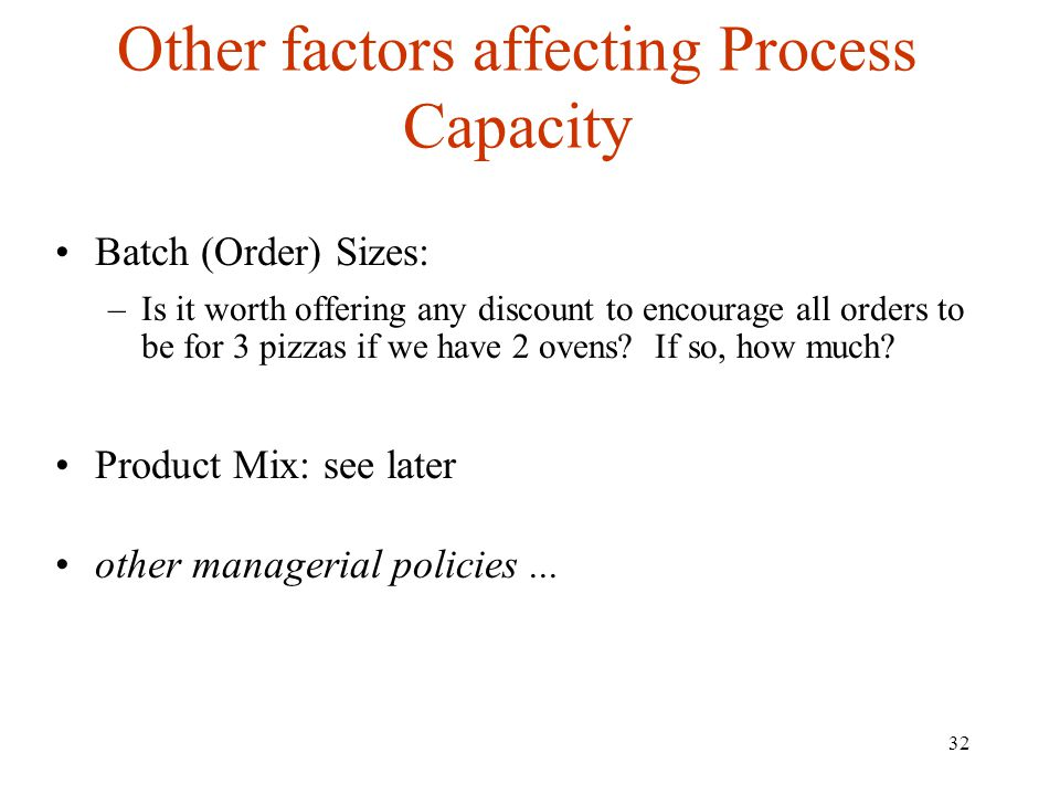 Other factors affecting Process Capacity