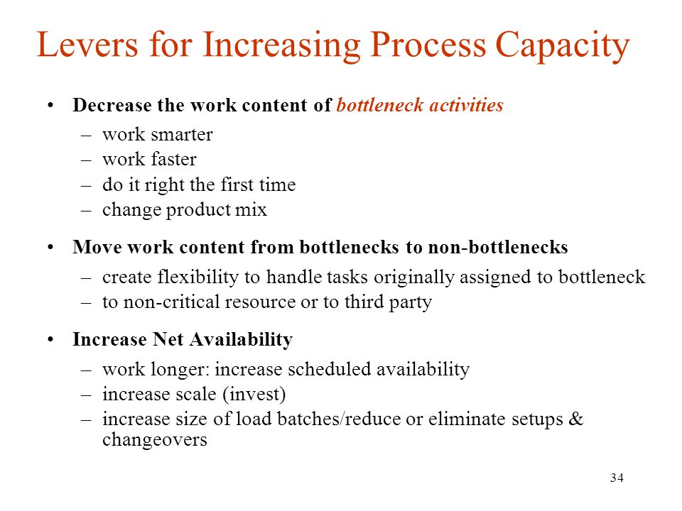 Levers for Increasing Process Capacity