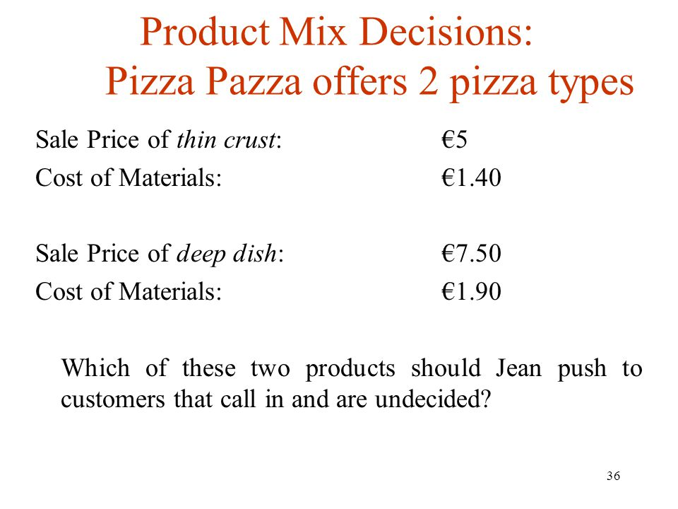 Product Mix Decisions: Pizza Pazza offers 2 pizza types