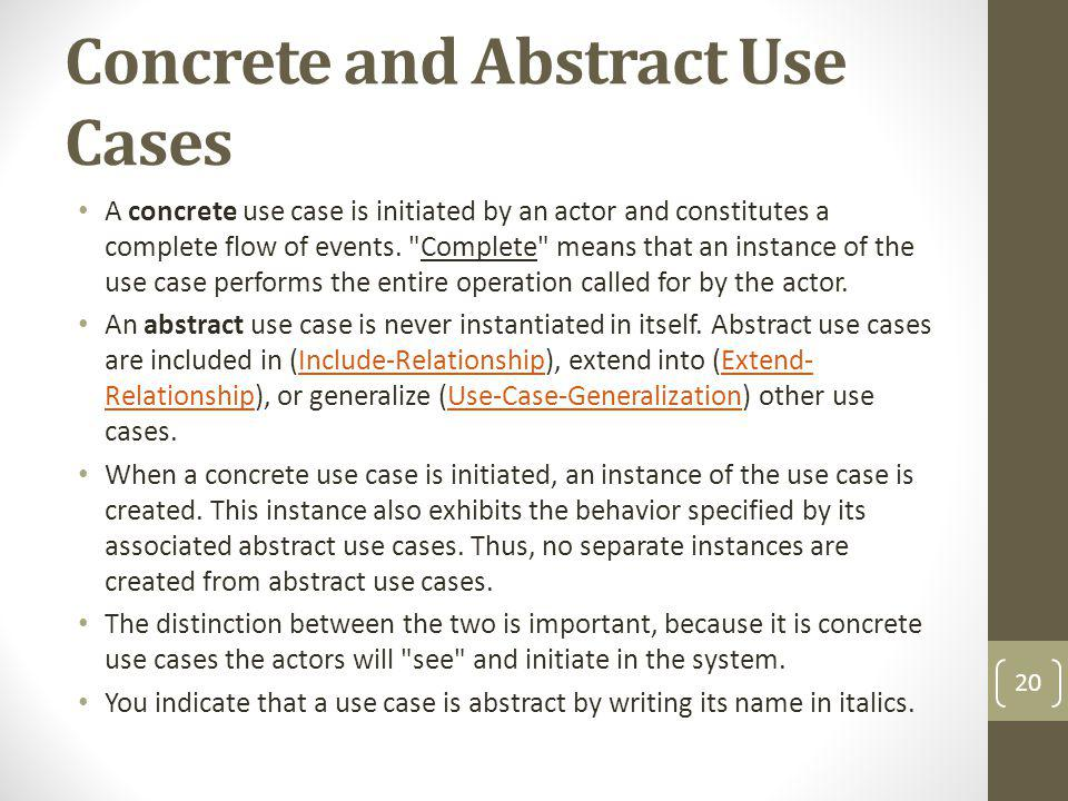 Concrete and Abstract Use Cases
