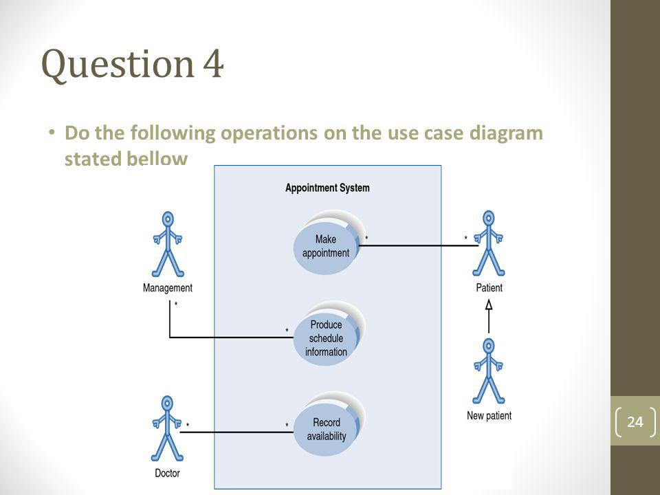Question 4 Do the following operations on the use case diagram stated bellow