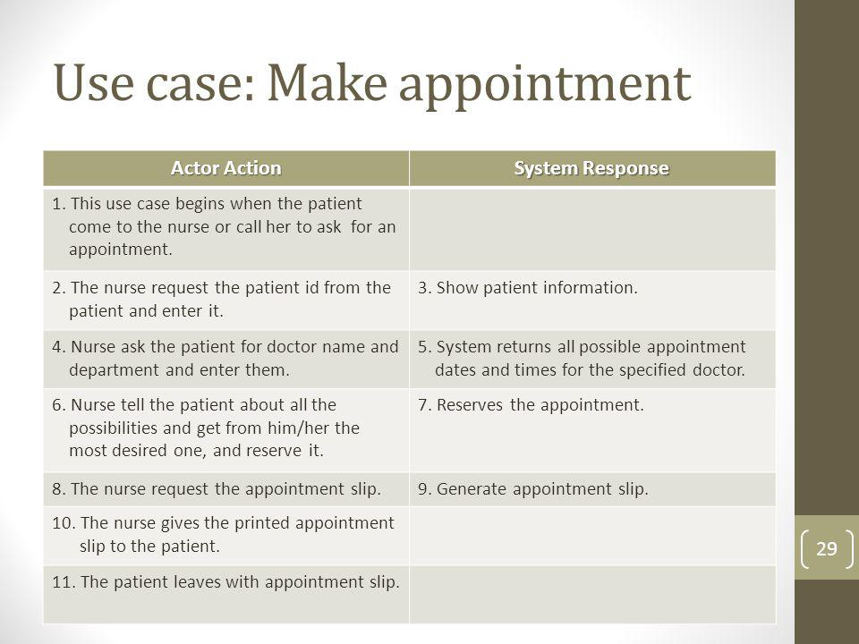 Use case: Make appointment