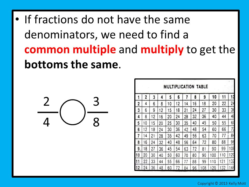 If fractions do not have the same denominators, we need to find a common multiple and multiply to get the bottoms the same.