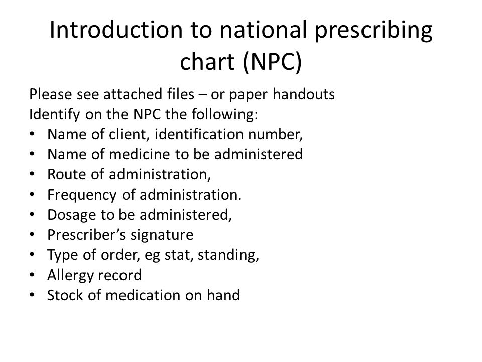 Introduction to national prescribing chart (NPC)