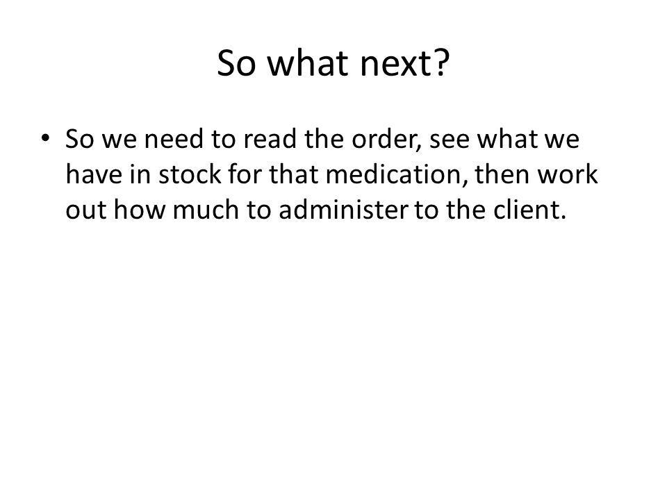 So what next.