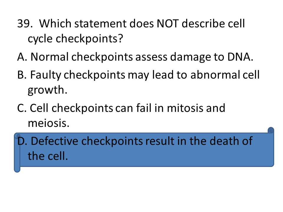 39. Which statement does NOT describe cell cycle checkpoints. A