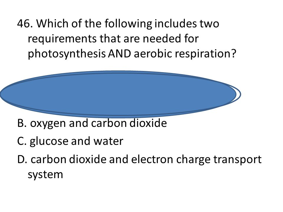46. Which of the following includes two requirements that are needed for photosynthesis AND aerobic respiration