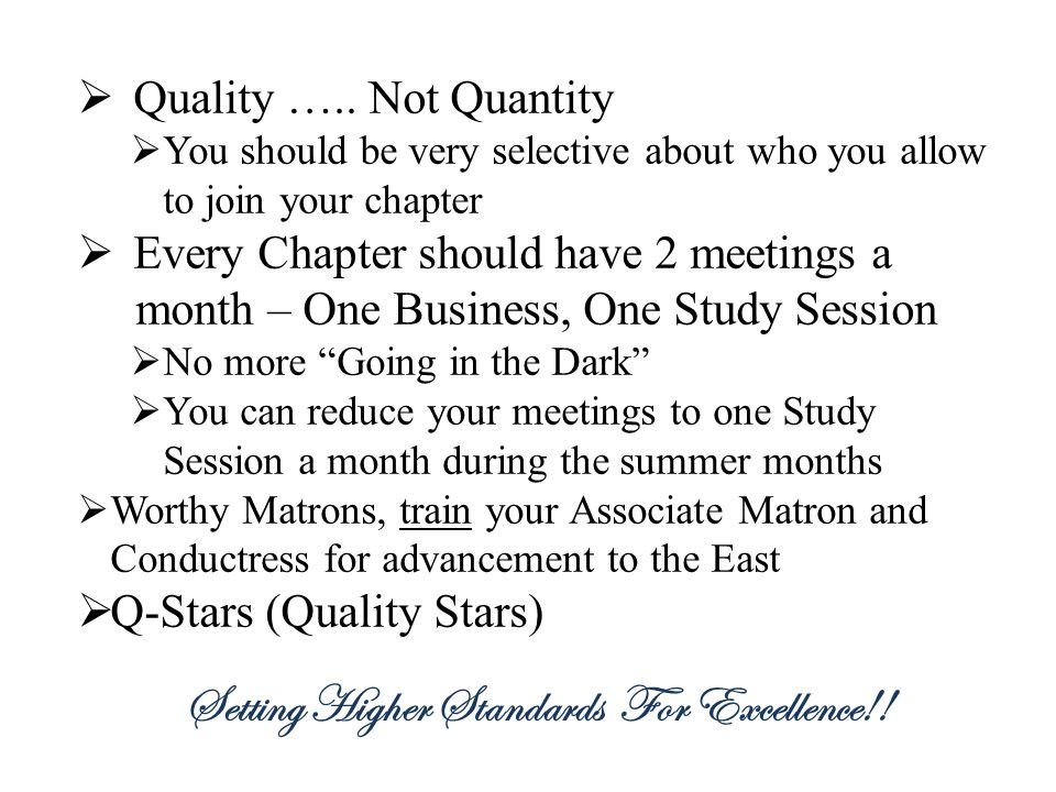 Setting Higher Standards For Excellence!!