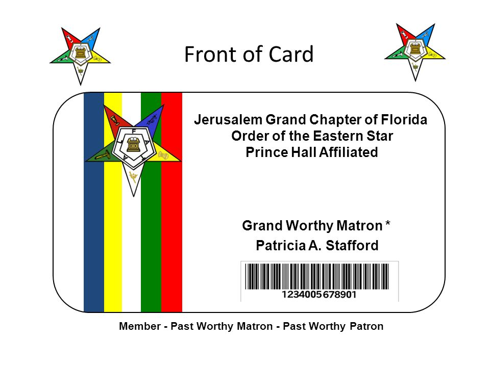 Front of Card Jerusalem Grand Chapter of Florida