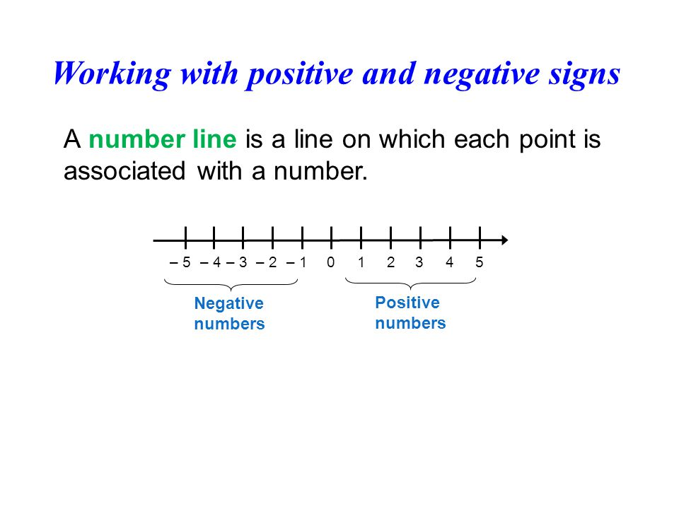 Working with positive and negative signs