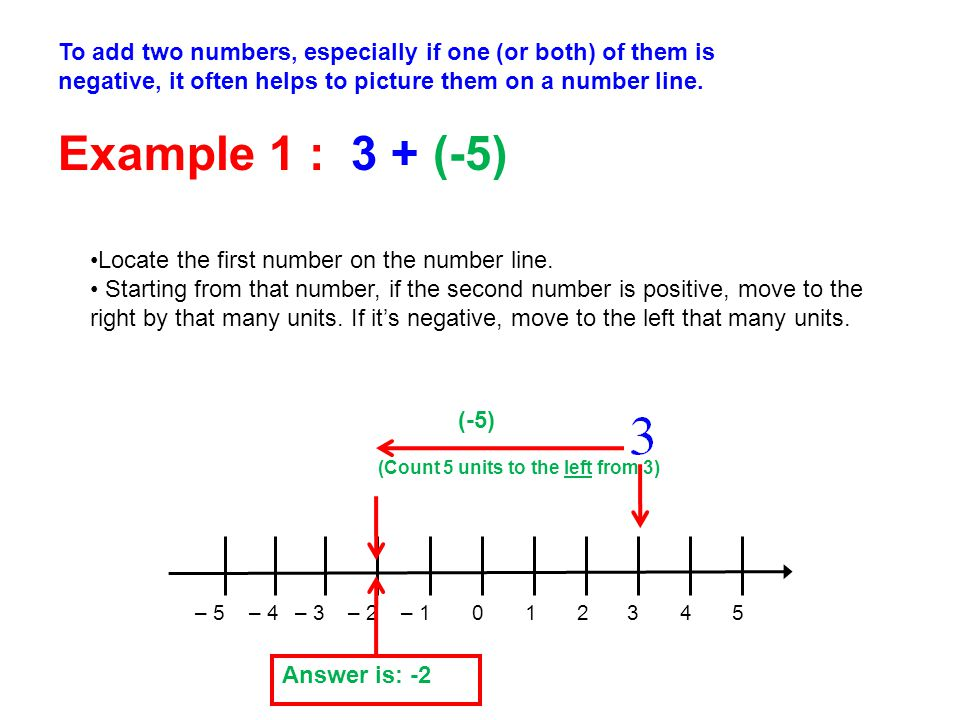 To add two numbers, especially if one (or both) of them is