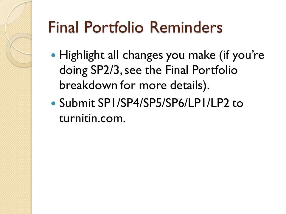 Final Portfolio Reminders