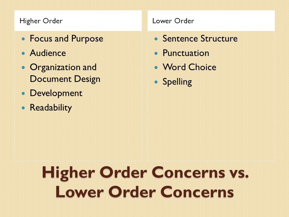 Higher Order Concerns vs. Lower Order Concerns