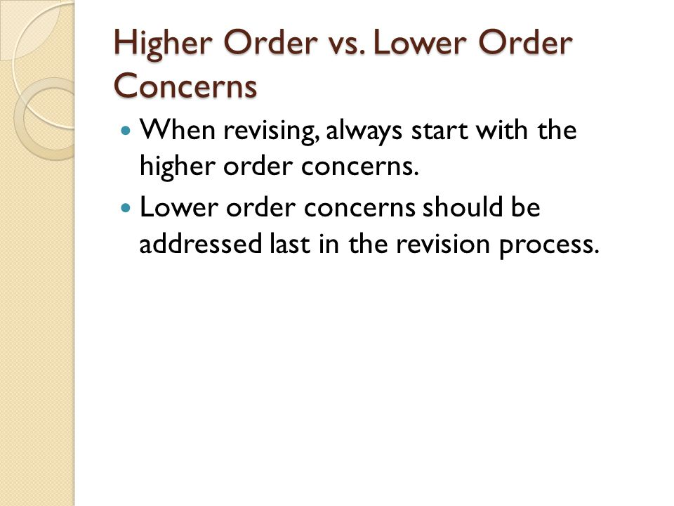 Higher Order vs. Lower Order Concerns