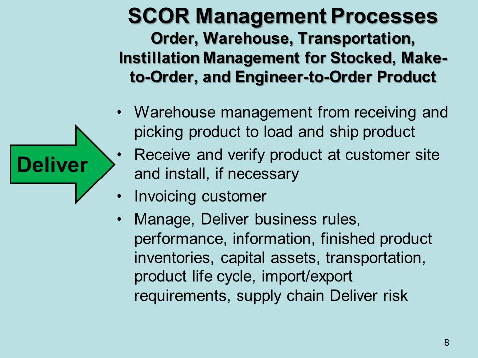 SCOR Management Processes Order, Warehouse, Transportation, Instillation Management for Stocked, Make-to-Order, and Engineer-to-Order Product