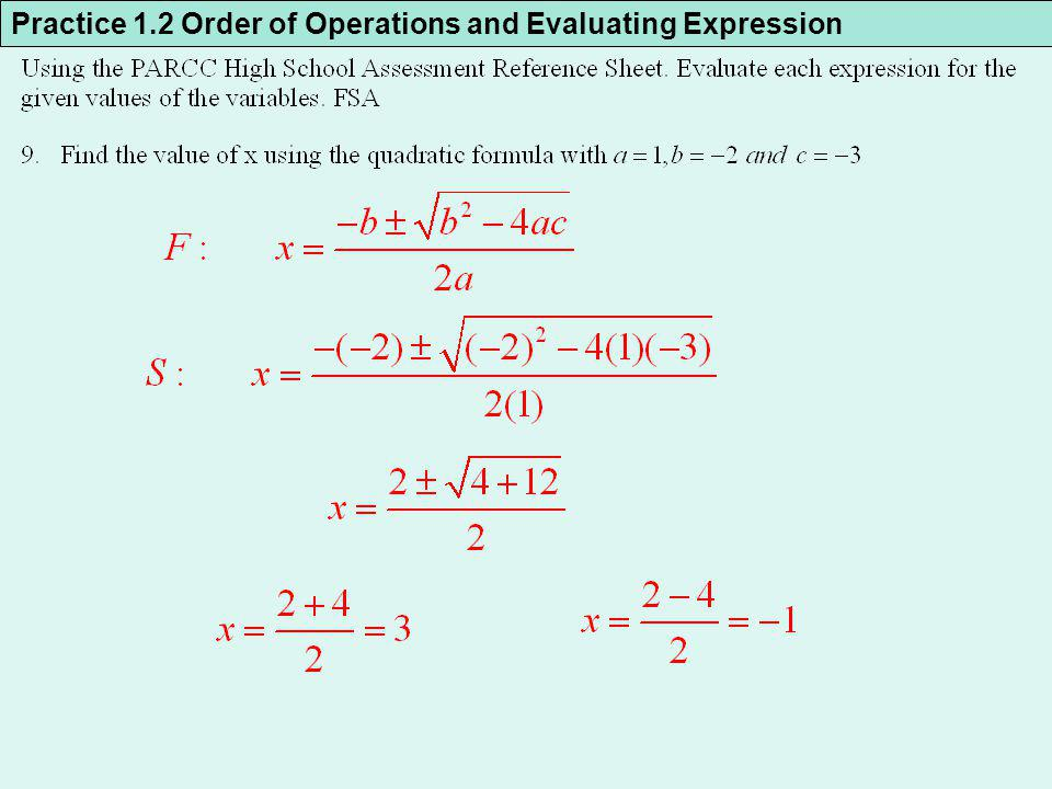 Practice 1.2 Order of Operations and Evaluating Expression