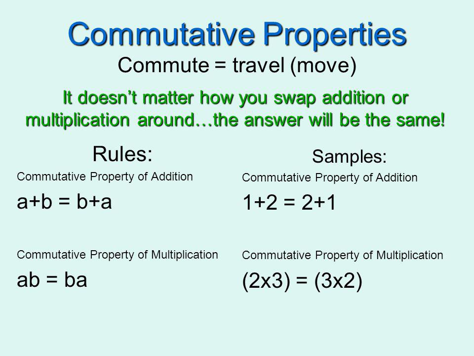 Commutative Properties Commute = travel (move)