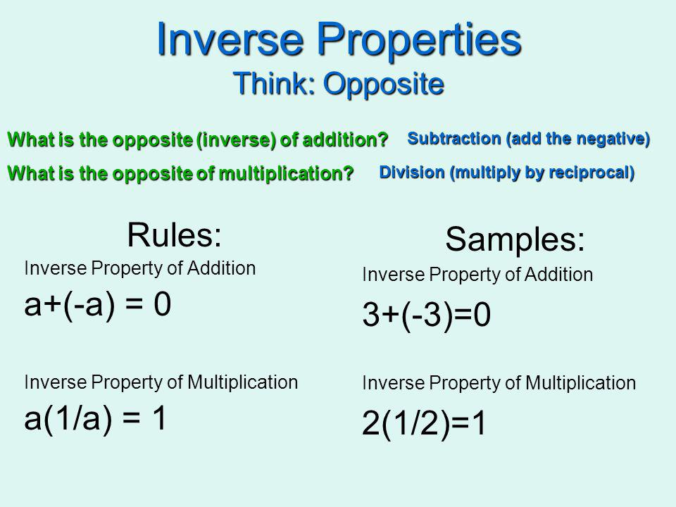 Inverse Properties Think: Opposite