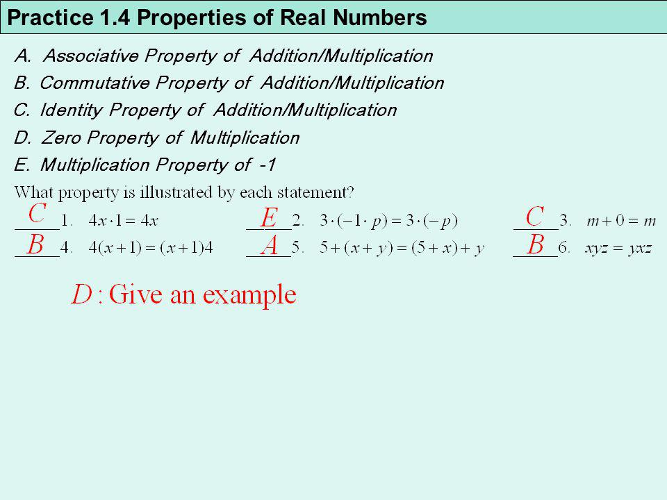 Practice 1.4 Properties of Real Numbers