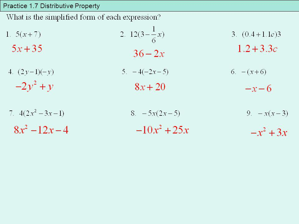 Practice 1.7 Distributive Property