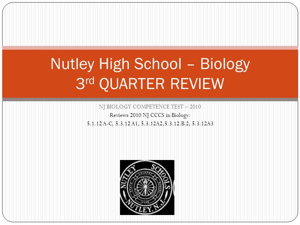 Nutley High School – Biology 3rd QUARTER REVIEW