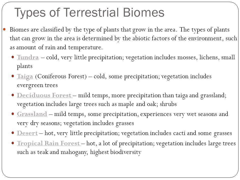 Types of Terrestrial Biomes
