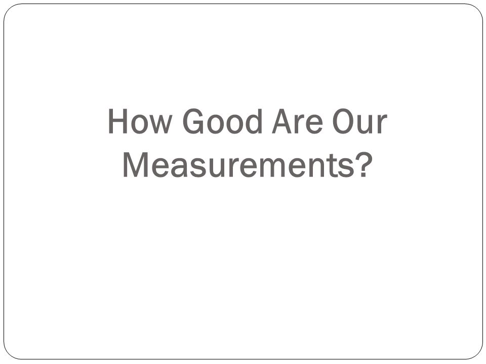 How Good Are Our Measurements