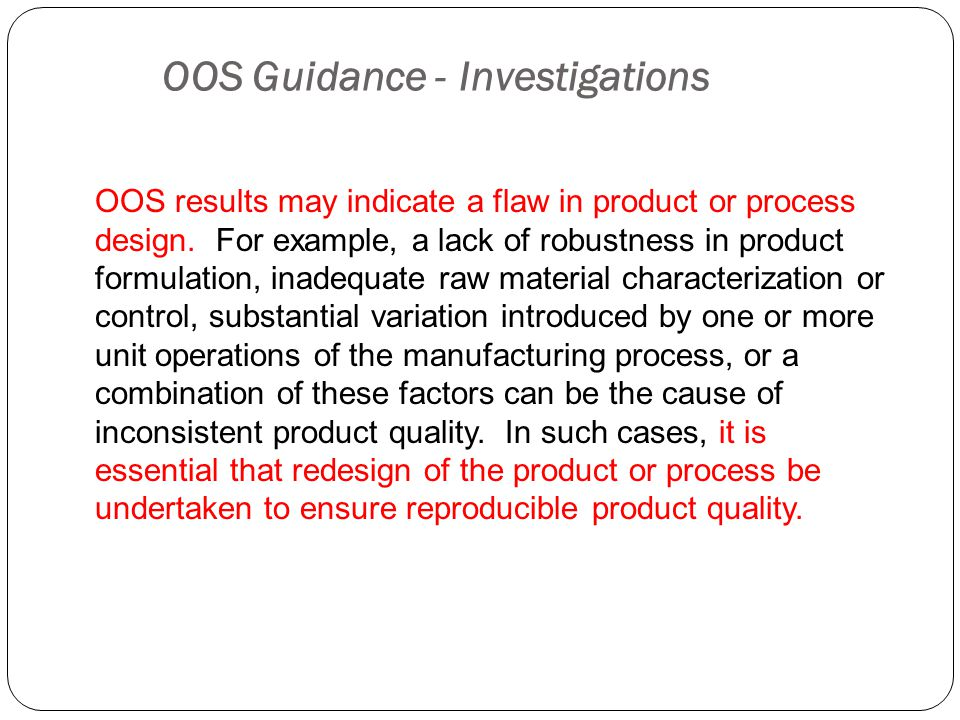 OOS Guidance - Investigations