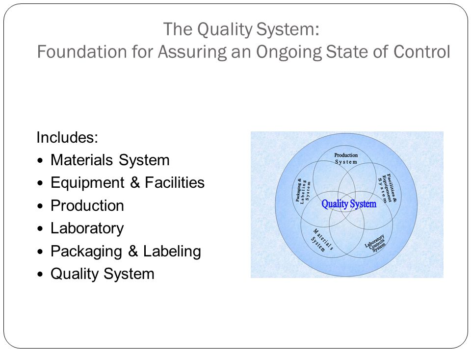 The Quality System: Foundation for Assuring an Ongoing State of Control
