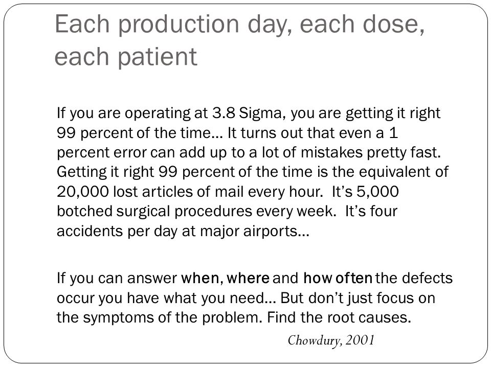 Each production day, each dose, each patient