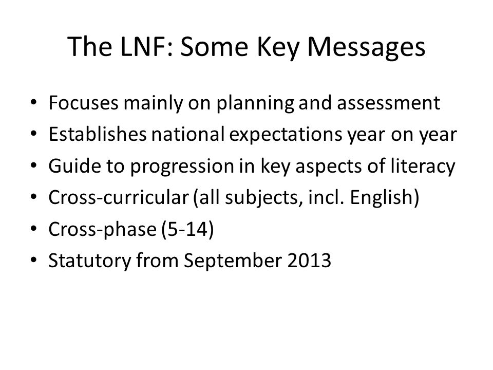 The LNF: Some Key Messages