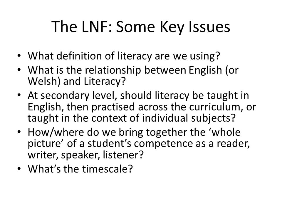 The LNF: Some Key Issues