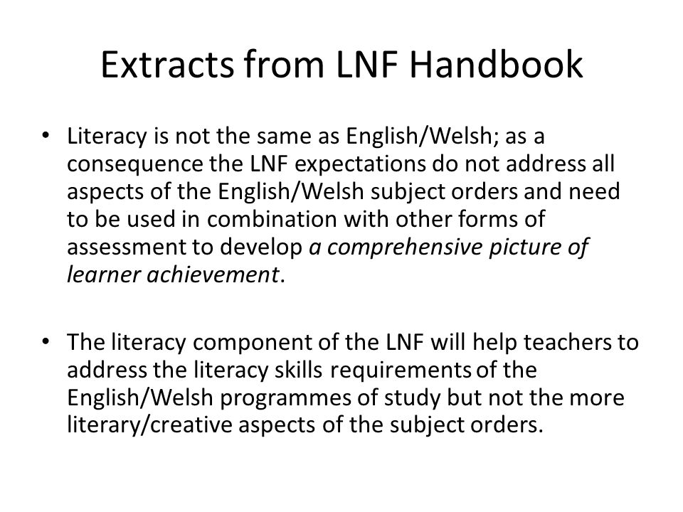 Extracts from LNF Handbook