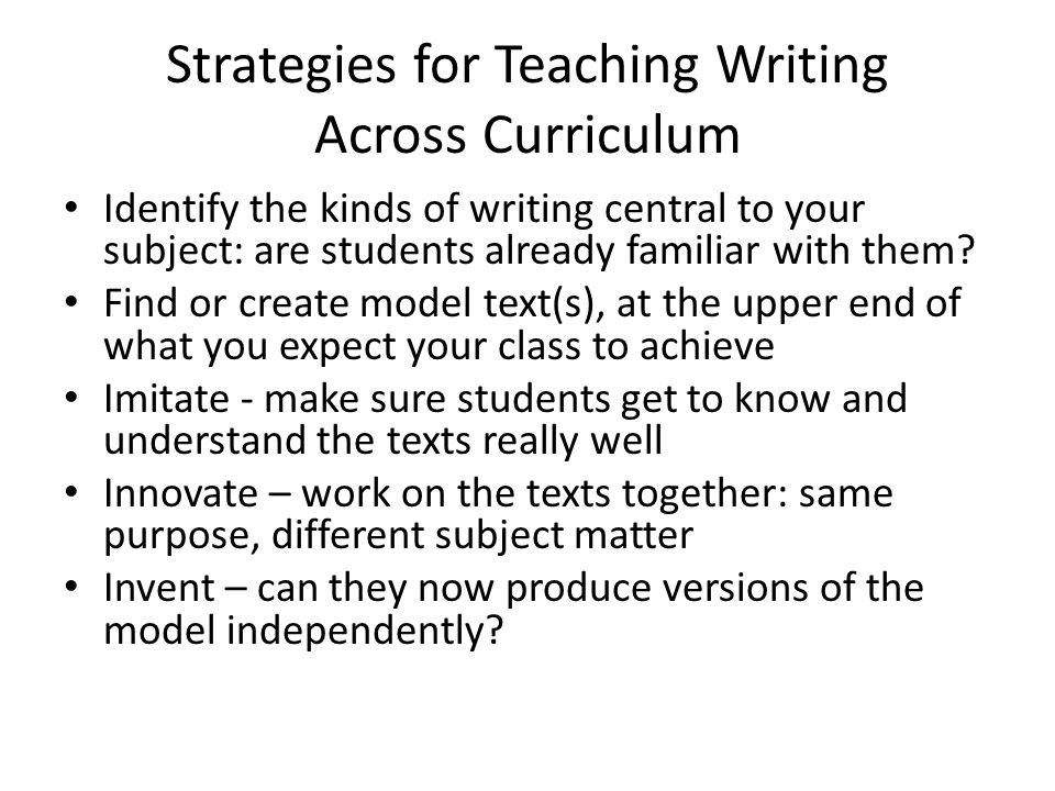 Strategies for Teaching Writing Across Curriculum