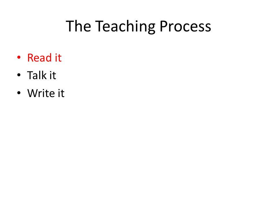 The Teaching Process Read it Talk it Write it