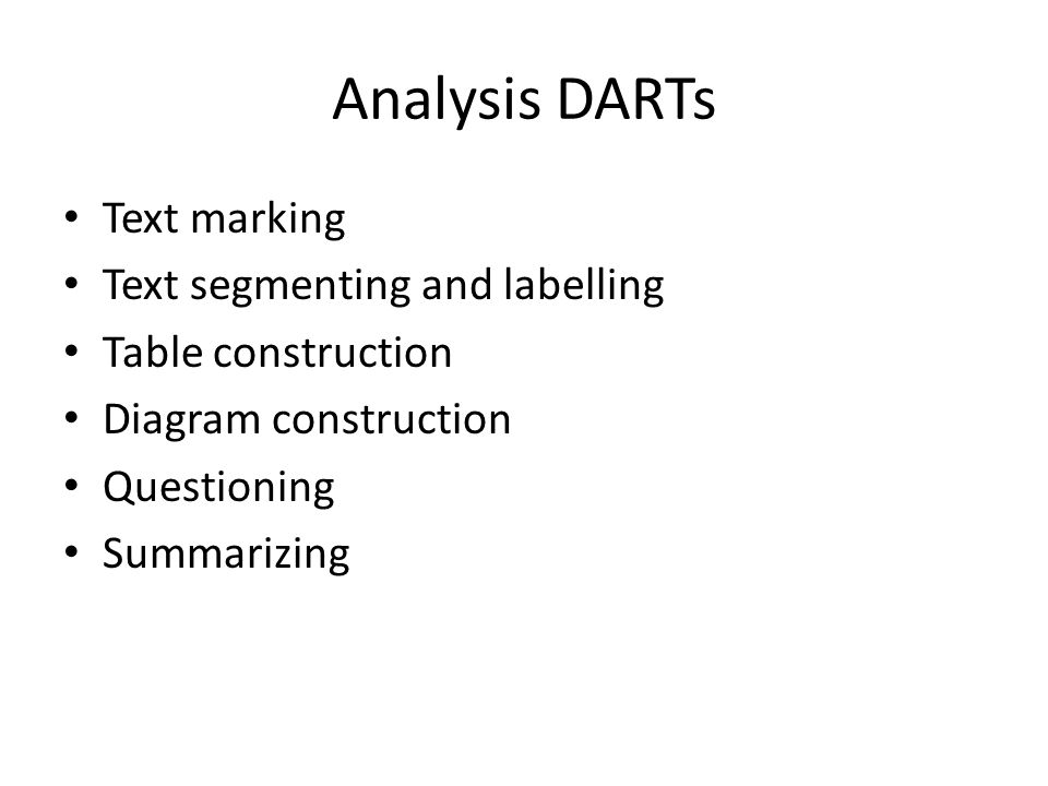 Analysis DARTs Text marking Text segmenting and labelling