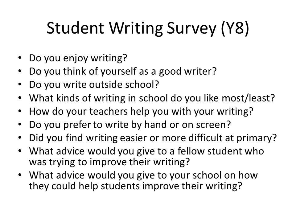 Student Writing Survey (Y8)