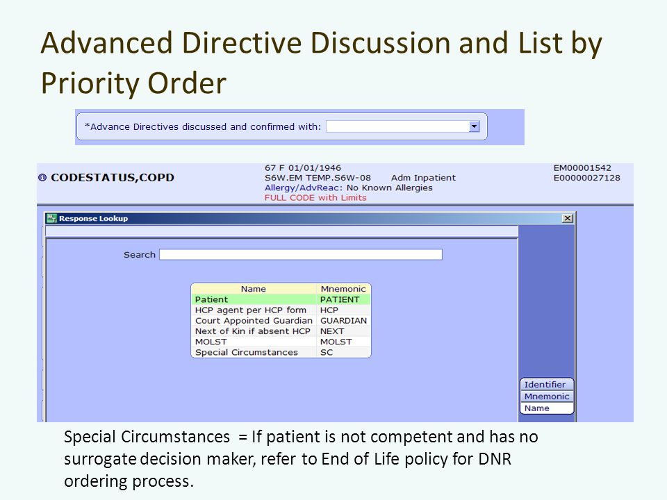 Advanced Directive Discussion and List by Priority Order