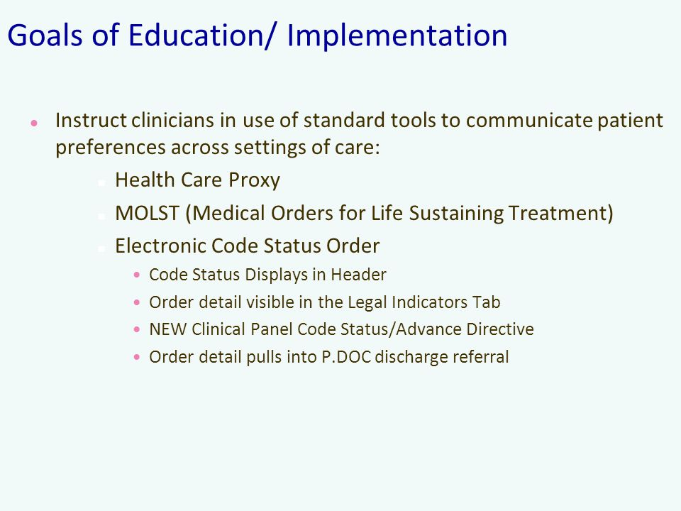Goals of Education/ Implementation