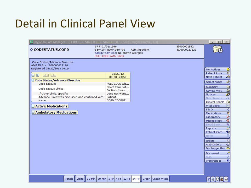 Detail in Clinical Panel View
