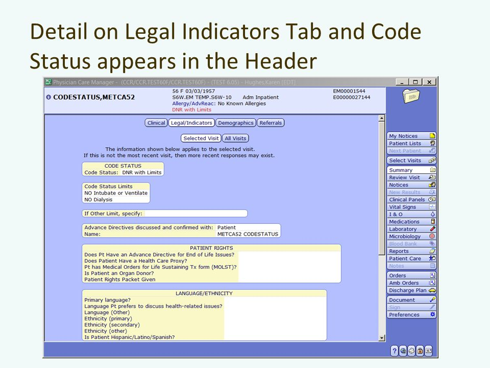 Detail on Legal Indicators Tab and Code Status appears in the Header