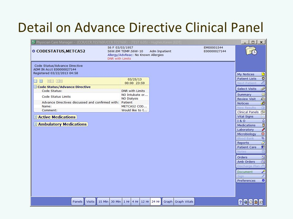 Detail on Advance Directive Clinical Panel