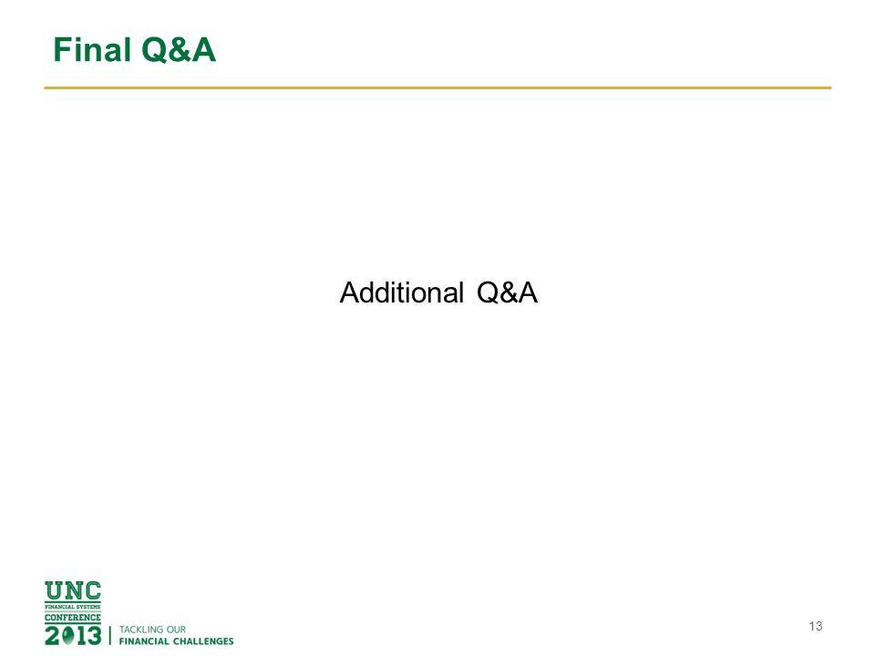 Final Q&A Additional Q&A