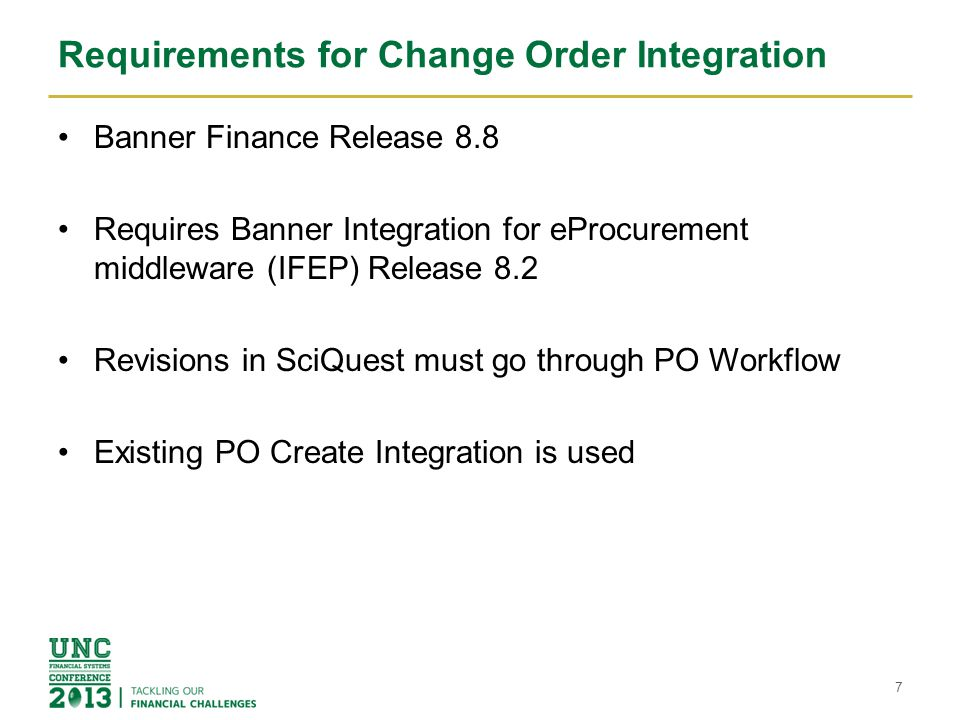 Requirements for Change Order Integration