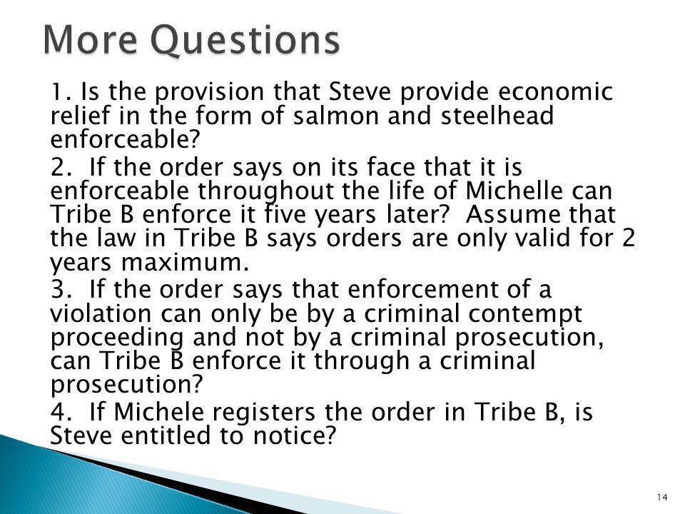 More Questions 1. Is the provision that Steve provide economic relief in the form of salmon and steelhead enforceable
