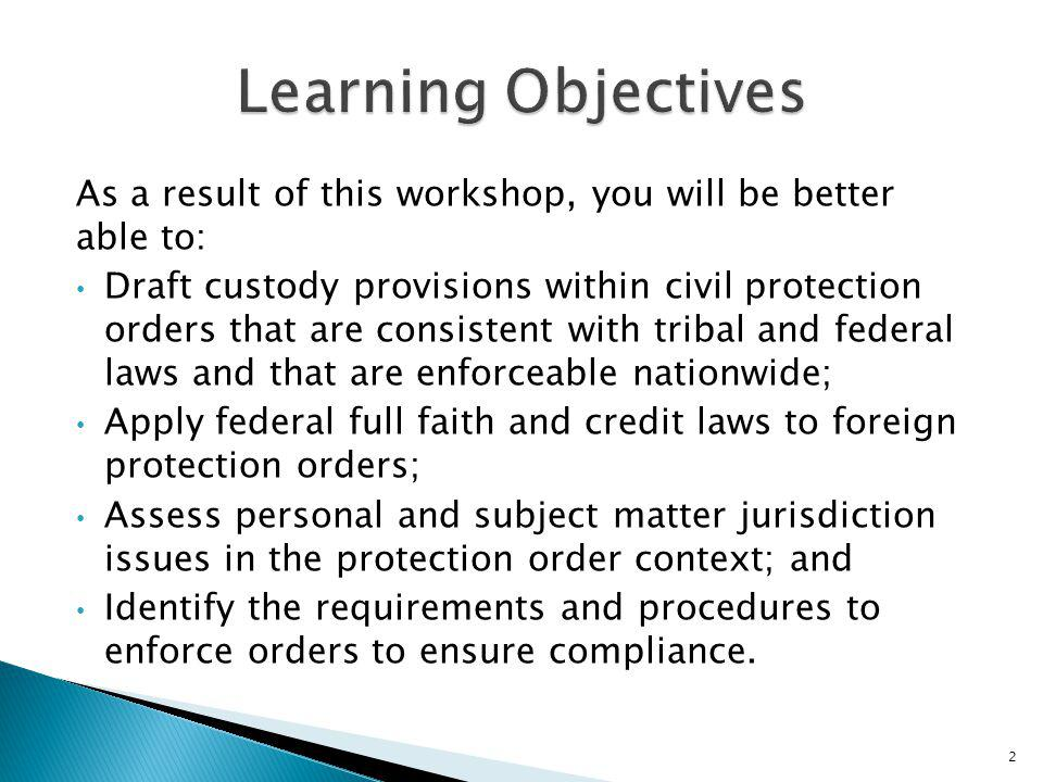 Learning Objectives As a result of this workshop, you will be better able to: