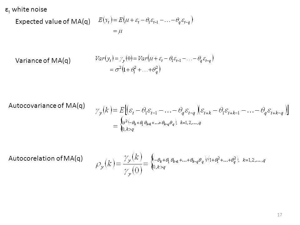 εt white noise Expected value of MA(q) Variance of MA(q) Autocovariance of MA(q) Autocorelation of MA(q)