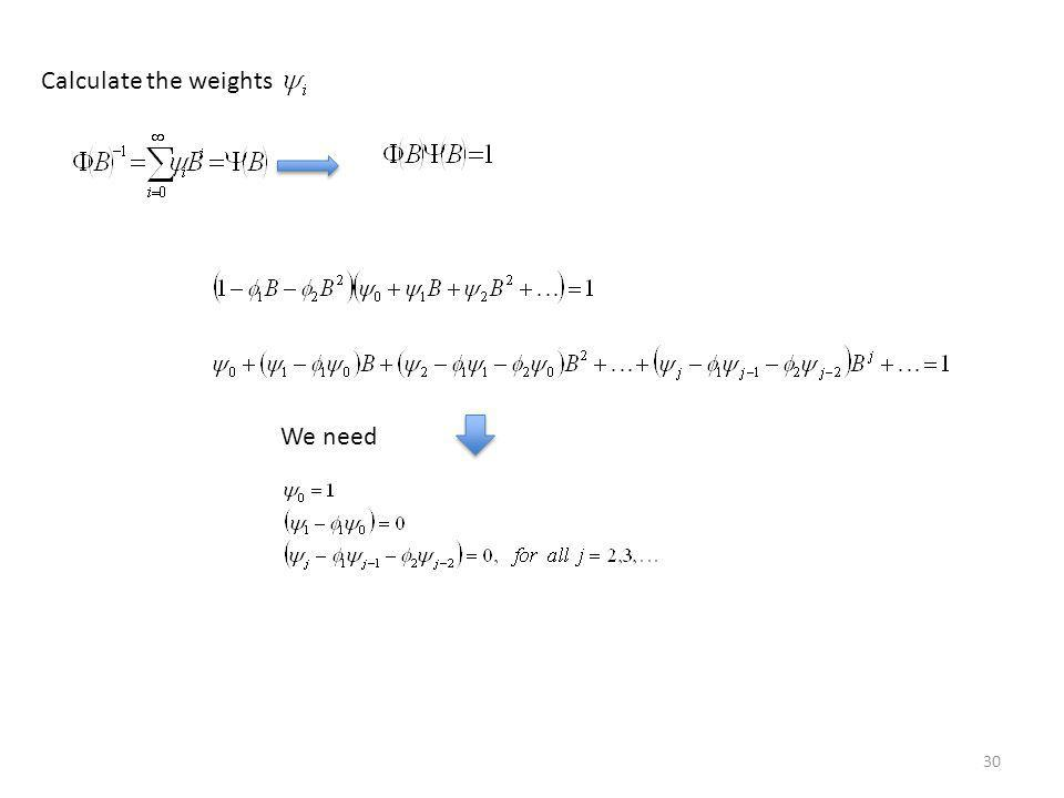 Calculate the weights We need