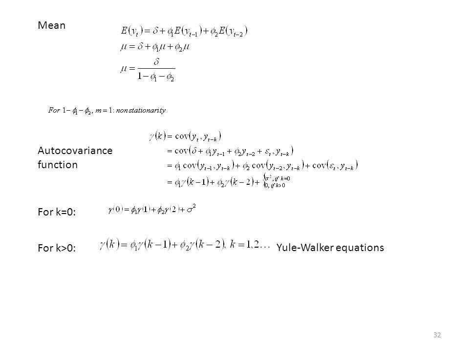 Mean Autocovariance function For k=0: For k>0: Yule-Walker equations